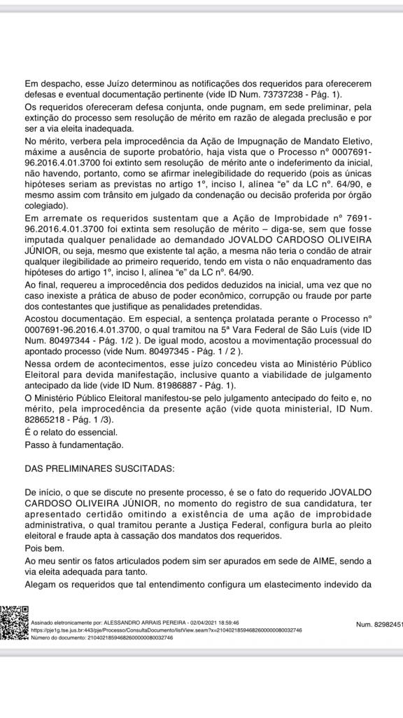 justica eleitoral rejeita acao de ze wilson em que pedia a cassacao do mandato do prefeito junior do posto em itaipava do grajau 2 576x1024 - Justiça eleitoral rejeita Ação de Zé Wilson em que pedia a cassação do mandato do prefeito Júnior do Posto em Itaipava do Grajaú