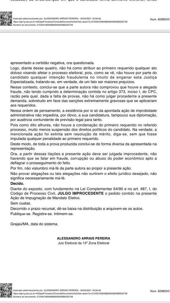 justica eleitoral rejeita acao de ze wilson em que pedia a cassacao do mandato do prefeito junior do posto em itaipava do grajau 3 576x1024 - Justiça eleitoral rejeita Ação de Zé Wilson em que pedia a cassação do mandato do prefeito Júnior do Posto em Itaipava do Grajaú