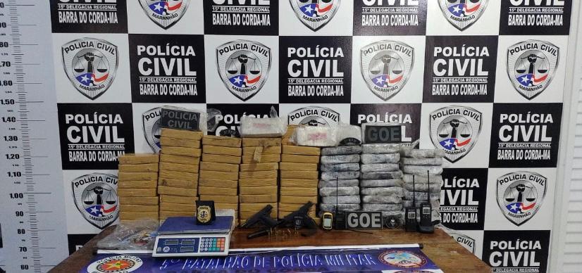 Polícias Militar e Civil de Barra do Corda apreendem drogas avaliadas em R$ 10 milhões em Fernando Falcão