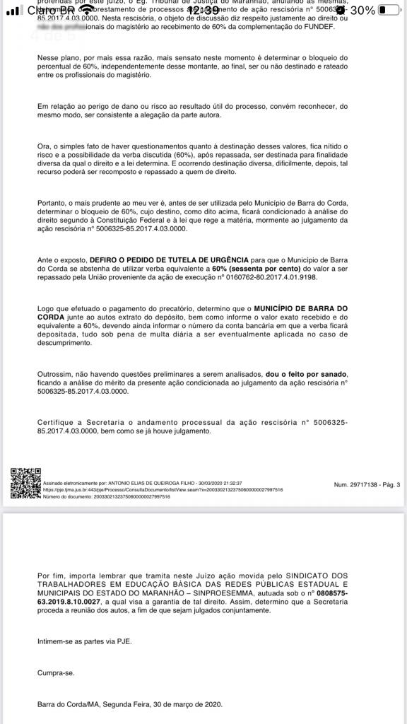 juiz queiroga filho mandou bloquear em marco de 2020 60 dos precatorios do fundef da prefeitura de barra do corda 3 576x1024 - Juiz Queiroga Filho mandou bloquear em março de 2020 60% dos precatórios do FUNDEF da prefeitura de Barra do Corda