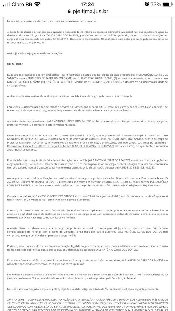 urgente juiz queiroga filho acaba de condenar ex vereador jaile lopes devolver r 259 mil aos cofres publicos em barra do corda 2 576x1024 - URGENTE!! Juiz Queiroga Filho acaba de condenar o ex-vereador Jaile Lopes a devolver R$ 259 mil aos cofres públicos em Barra do Corda