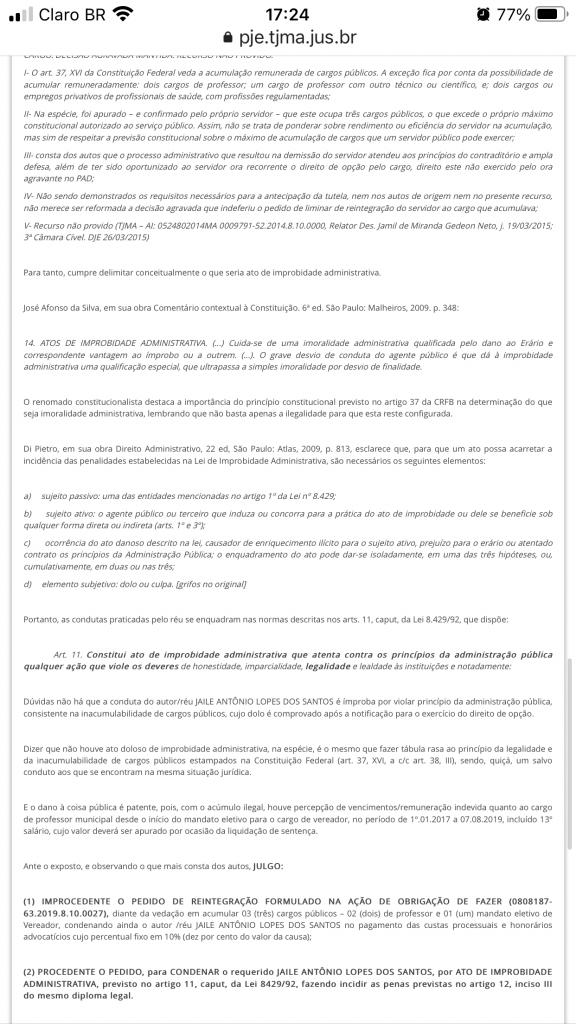 urgente juiz queiroga filho acaba de condenar ex vereador jaile lopes devolver r 259 mil aos cofres publicos em barra do corda 3 576x1024 - URGENTE!! Juiz Queiroga Filho acaba de condenar o ex-vereador Jaile Lopes a devolver R$ 259 mil aos cofres públicos em Barra do Corda