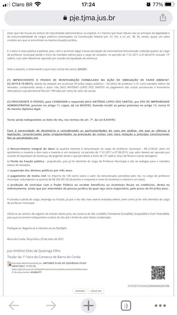urgente juiz queiroga filho acaba de condenar ex vereador jaile lopes devolver r 259 mil aos cofres publicos em barra do corda 4 576x1024 - URGENTE!! Juiz Queiroga Filho acaba de condenar o ex-vereador Jaile Lopes a devolver R$ 259 mil aos cofres públicos em Barra do Corda