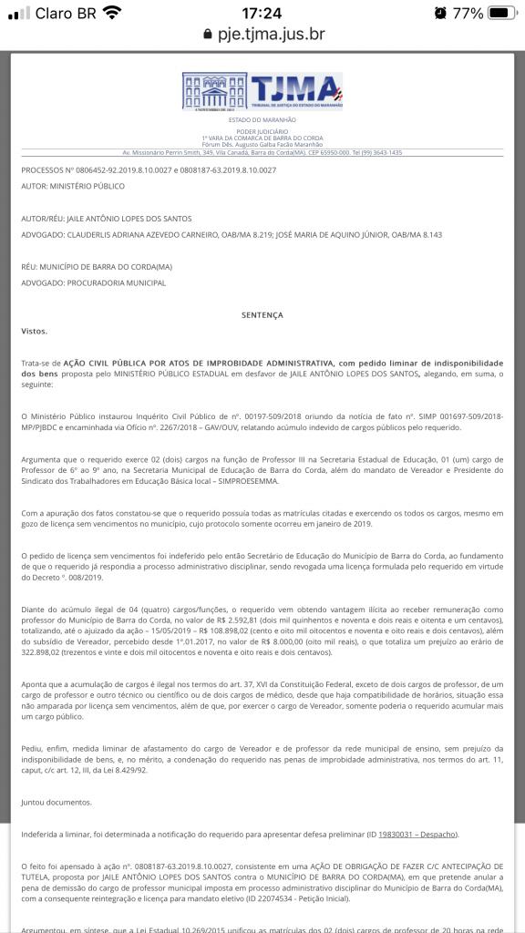 urgente juiz queiroga filho acaba de condenar ex vereador jaile lopes devolver r 259 mil aos cofres publicos em barra do corda 576x1024 - URGENTE!! Juiz Queiroga Filho acaba de condenar o ex-vereador Jaile Lopes a devolver R$ 259 mil aos cofres públicos em Barra do Corda